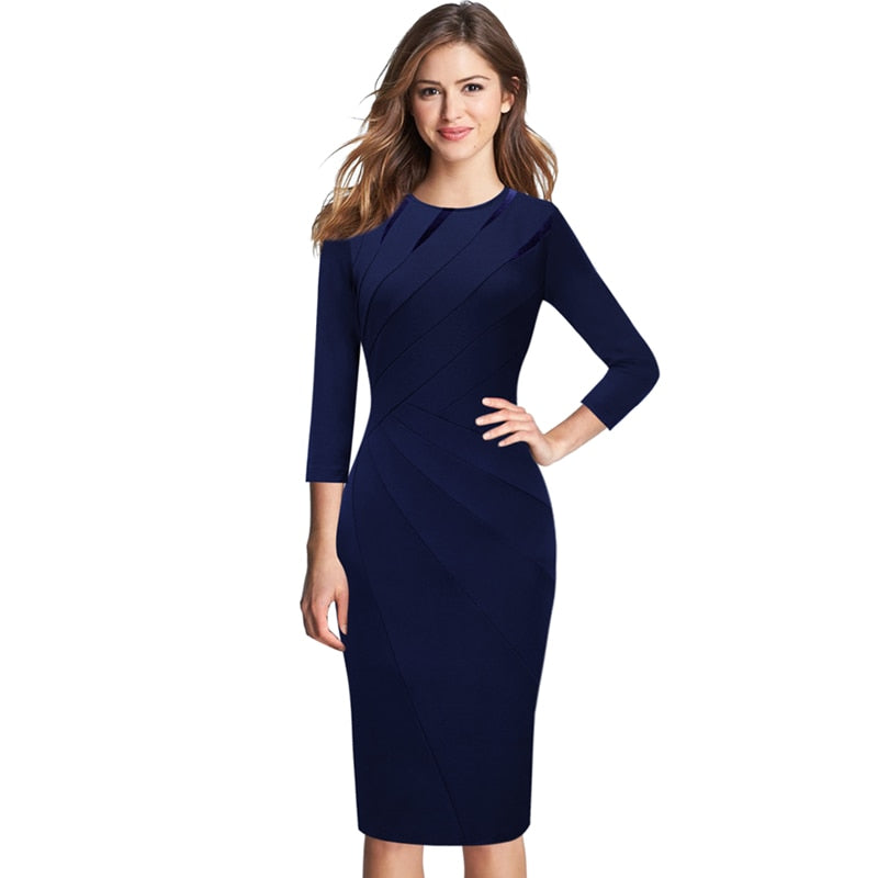4f411fb8c7 Vfemage Womens Autumn Winter Elegant Patchwork Slim Casual Work Business  Office Party Fitted Bodycon Pencil Sheath Dress 1045