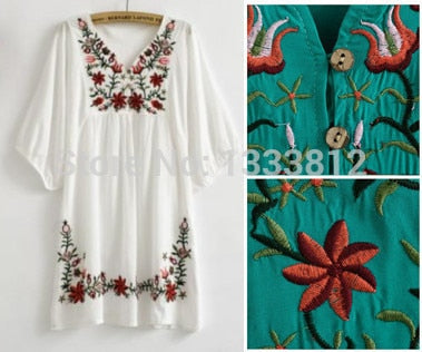 Vintage 70s Mexican Ethnic Flower EMBROIDERY Dresses women,BOHO Hippie Casual Dress Plus Size women clothing women tops,Vestidos