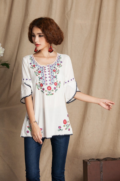 Vintage 70s Mexican Floral Embroidery BOHO Blouse Women Hippie Mini Dress Women Soft Cotton clothing Summer Blouse Tops Vestidos