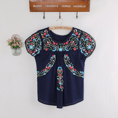 Vintage 70s SCALLOP Mexican Ethnic Embroidery Summer Women Dress BOHO Hippie Blouse Mini Dresses Women Tops Vestidos Femininos