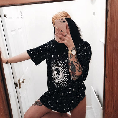 Vintage Crescent Stars Sun Print Women tshirt Casual Top Cotton Hipster T-shirt For Girls Tumblr Top Tee DropShipping