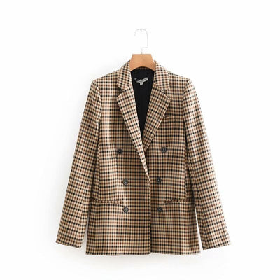 Vintage Double Breasted Blazers Coat Women Fashion Frayed Checked Pockets Plaid Ladies Outerwear Casual Casaco Femme