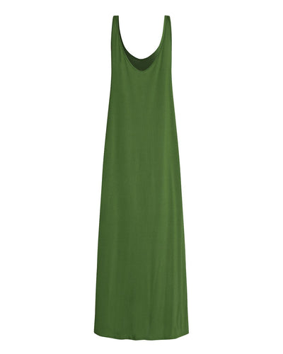 Vintage Dress Summer Women Sexy V Neck Backless Solid Sleeveless Long Maxi Tank Party Dress Casual Loose Vestidos Plus Size 2xl
