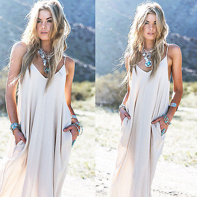 Vintage Hippie Boho Women Long Maxi Evening Party Chiffon Dress Beach Dresses