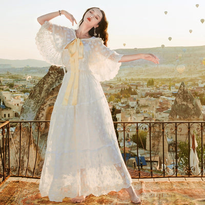 Vintage Mori Girl 3D Flower Lace Embroidery Long Dress Bohemian Hippie Boho Women Fairy Princess White Dress Robe Tunique Femme