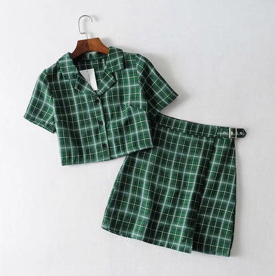 Vintage Plaid Tracksuit Women 2 Two Piece Set Casual Short Top Shirts+ Mini Skirt Matching Sets Outfits conjuntos mujer New