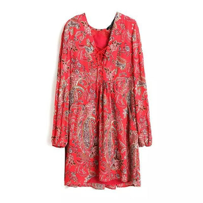 Vintage Red Floral Pattern Lacing Up Bow Hollow Out Tied Deep V-Neck Pullover Shift Dress Sexy Women New Long Sleeve Loose femme