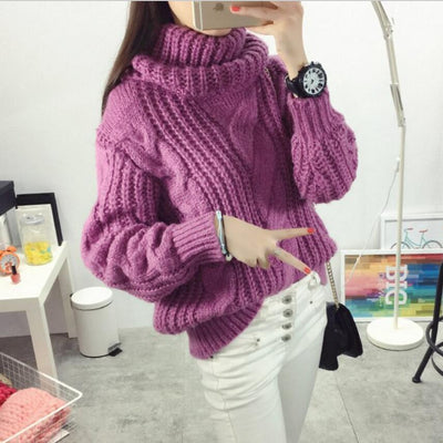 Vintage Turtleneck Sweater Winter Oversize Twist Hemp Flowers High Neck Loose Pullovers Women Thicken Knitted Warm Sweater