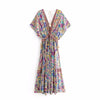 Viven Leigh Boho Floral Print Long Dress Retro Bohemian Maxi Dress Sexy Ethnic Deep V-neck Beach Dresses Hippie Robe
