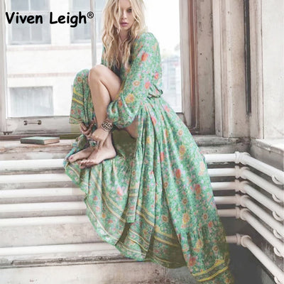 Viven Leigh Vintage Hippie Robe Dress Sexy Deep V Lacing Tassel Boho Floral Print Ethnic Dressses Brand Women Party Dress