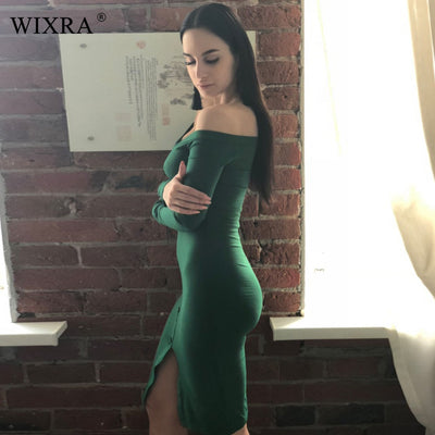 WIXRA Basic Slash Neck Dress Long Sleeve Off Shoulder Dress Women Rib Knit Bodycon Dresses Spring Slim Button Up Dress