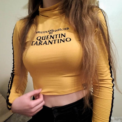 WRITTEN AND DIRECTED BY QUENTIN TARANTINO Letter Printing Long-Sleeved Sexy T-Shirt New Summer Female Tops Tees