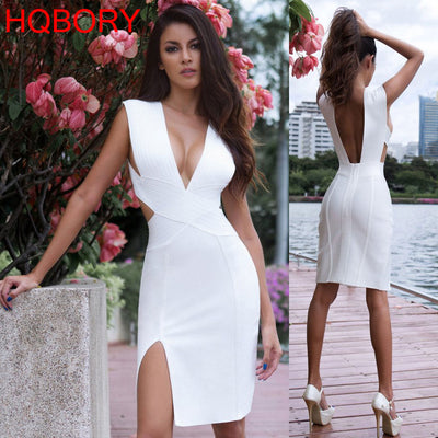 White Sleeveless New Backless Deep V Neck Sexy Women Knee Length Bandage Bodycon Dress