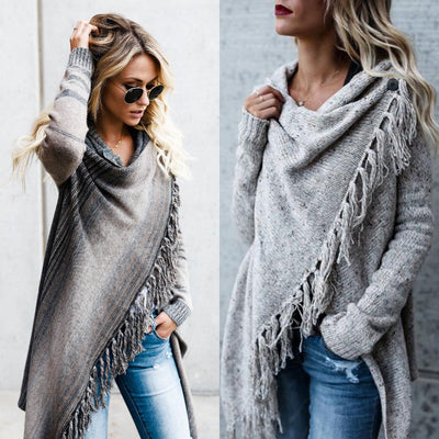 Winter Autumn Womens Knitted Long Sleeve Jumper Sweater Cardigan Fashion Ladies Fringe Shawl Tops Tassles Long Cover Up Coats