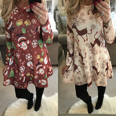 Winter Casual New Year Christmas Mini Dress Long Sleeve Floral Plus Size Club Dress Clothes Femme O-neck Ladies Dresses
