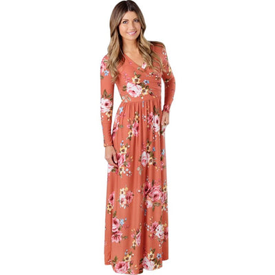 Winter Dress Loose Maxi Flowery Dresses Floral Print Waist Tie Sexy Long Hippie Dress Boho Vintage F Tunic Party Dress