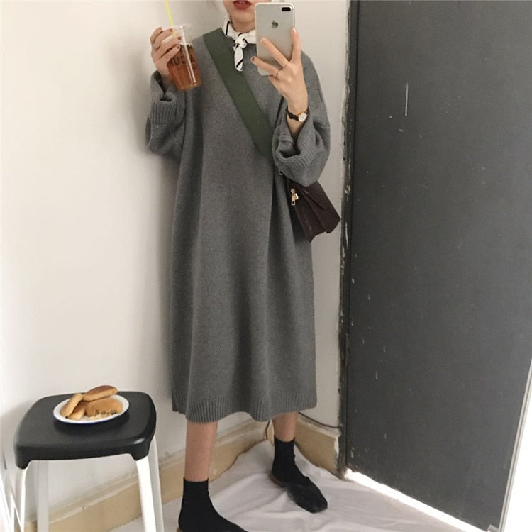 3fe9f635e27 Winter Korean WomenSolid Color Sweater Vestidos Autumn Loose Long Sleeve Knitted  Sweater Dress Plus Size Pullover