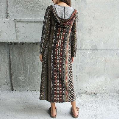 Winter Long Sleeve Printed Dress Women Long Maxi Dresses Spring Hooded Chaqueta Vestidos Casual Party Kaftan Robe Plus Size