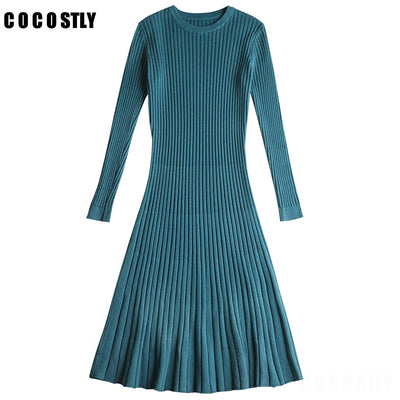 Winter Sweater Dress Women Knitted Slim Pullover Clothing O-Neck Sweater Ladies Long Sleeve Long femme dress warm Ladies
