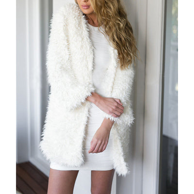 Winter Warm Faux Fur Sweater New Sexy Women White Loose Sweater Cardigan Tops Outwears Casual Ladies Long Sleeve Sweaters Coat