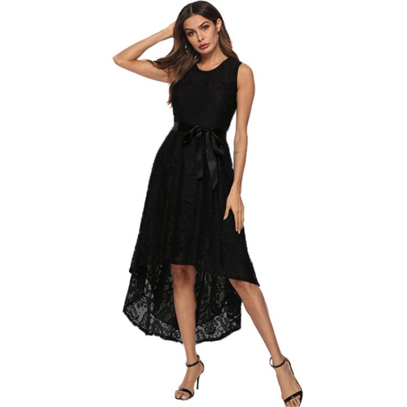 82cb8e6a097c1 Wipalo Plus Size 5XL Women Lace Dress 5 Colors High Low Irregular Long  Dress Round Neck Sleeveless Belts Elegant Party Vestidos