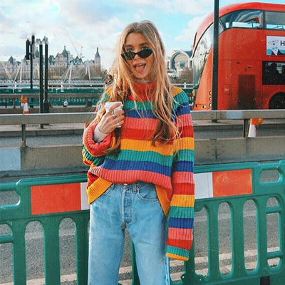 Wipalo Rainbow Stripe Turtleneck Sweater Women Pullovers Autumn Winter Warm Knit Jumpers Loose Oversized Colorful Sweaters