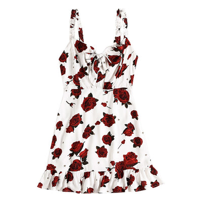 Wipalo Women Sexy Mini Dress Summer Rose Floral Print Tie Front Sleeveless Backless Dress Women Casual Party Dresses Vestidos