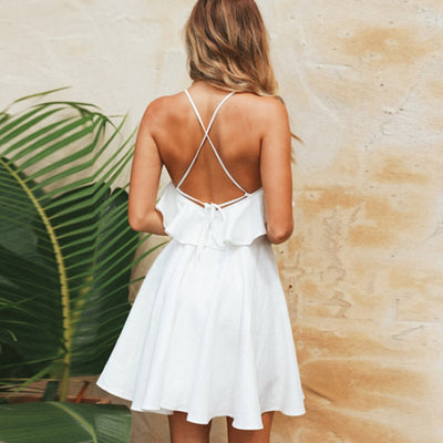 Wixra Summer New Hot Sweet Ruffles Dress Women Spaghetti Strap Backless Lace up Short Dress Solid Mini Dresses