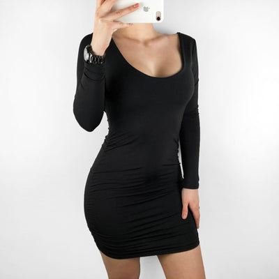 Wixra Summer Sexy Backless Mini Dress Women Long Sleeve Slim Short Dresses White Black Color Hot For Ladies