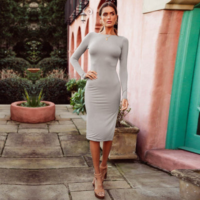 Wixra Summer Solid Sexy Backless Dress Women Long Sleeve Split Dress Knee-Length Dresses Hot For Ladies
