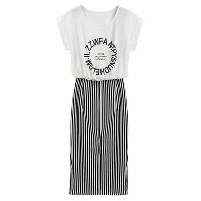 Women 2 in 1 One-piece Letter Print Striped Blouse Dress Midi Short Sleeve Bodycon Long Dress