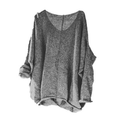 Women Spring autumn 5XL loose street style sweaters women fashion sexy v-neck sweater batwing sleeve plus size pullover