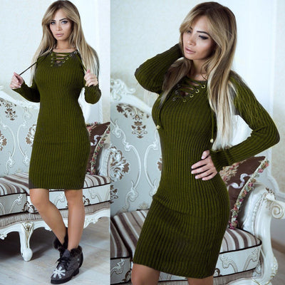 Women Autumn Winter Long Sleeve Knit Bodycon Loose Sweater Mini Dress V-Neck Womens Ladies Warm Dresses Clothing