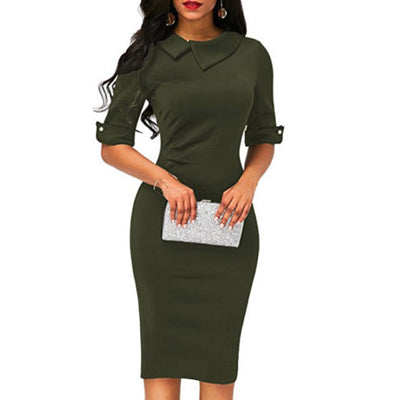 Women Bandage Bodycon Half Sleeve Evening Party Work Office Midi Dress