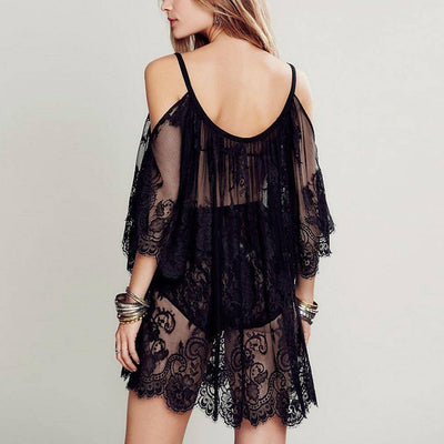 Women Beach Dress Sexy Strap Sheer Floral Lace Embroidered Crochet Summer Black Dresses Hippie Boho Dress