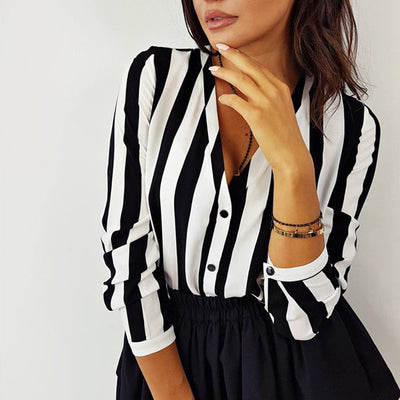 Women Blouses Striped Shirt Long Sleeve V Neck Blusa Feminina Casual Womens Tops And Blouses Autumn Tee Shirt Femme WS9906F