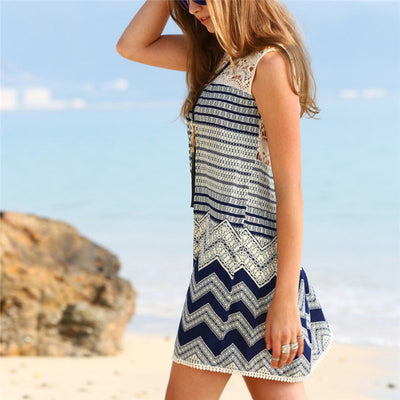 Women Boho Dresses Beach Striped Sleeveless Print Lace Yoke Shift Loose Tank Boho Sexy Rayon Dress