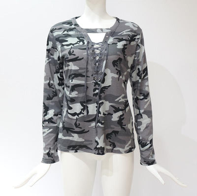 Women Camouflage Shirt 2019 Summer Long Sleeve Sexy Ladies Bandages Tops Tees Slim O-neck Hollow Out Blouse Female Cotton Tops