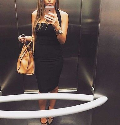 Women Casual Sexy Low - Cut Summer Clothes Black White Red Cool Short Sleeveless Bandage Dress Party Bodycon Sleeveless