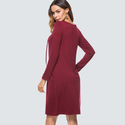 Women Casual Solid Color Lace Up Shift Dress Elegant Ladylike Rope O Neck Long Sleeve Straight Loose Dress HT021