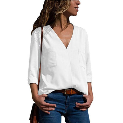 Women Casual Solid Long Sleeve Blouse Lapel Shirt blouse shirt women irregular collar Regular blusas chemise femme 2018