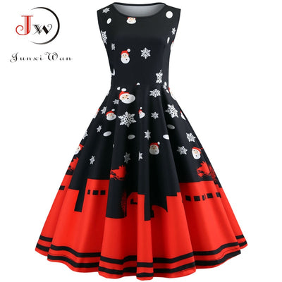 Women Christmas Dress Floral Slim Vintage Dress Sleeveless Casual Elegant Party Festival Gift Dresses Vestidos Plus Size