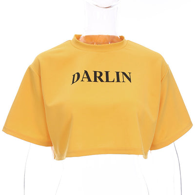 Women Cropped Yellow Short Sleeve T Shirt Summer O-neck Letter Print T-shirt Loose Tshirt Women Streetwear Crop Top