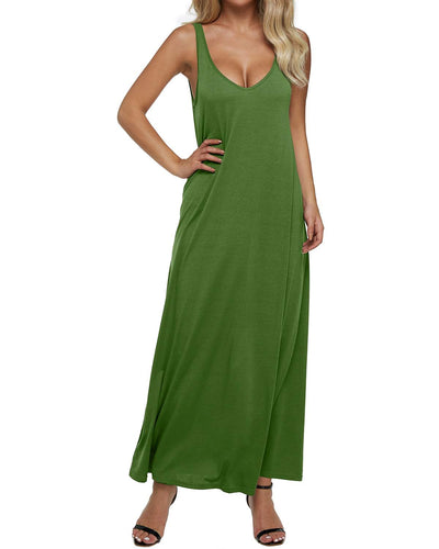 Women Dress Summer Sexy V Neck Backless Solid Sleeveless Long Maxi Tank Dresses Vintage Casual Loose Vestidos Plus Size 2xl