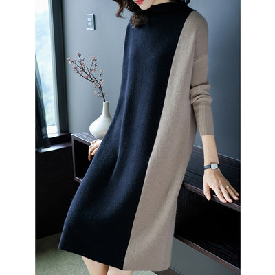 Women Dress Fashion Knitted Autumn Women Patchwork Loose Sweater Dresses Plus Size Winter Casual Party Elegant Dress