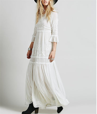 Women Elegant Long Embroidery Party Dress Flare Sleeve Bohemian People Mexican Dresses Hippie Chic White Black Maxi Dress H0308