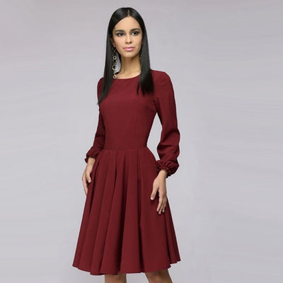 Women Elegant Vintage A Line Dress Ladies Long Sleeve O Neck Party Dress Autumn New Arrival Office Lady Knee-Length Dress