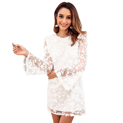 Women Embroidered Floral Lace Dress Open Back Sheer Long Sleeves Autumn Dress Casual Party Mini Shift Dress White Vestidos