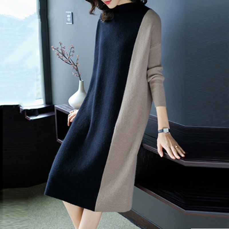 Women Fashion Patchwork Loose Long Knitted Dress Casual Oversized Sweater  Dress Plus Size Chic Lady Elegant Party beach Dress