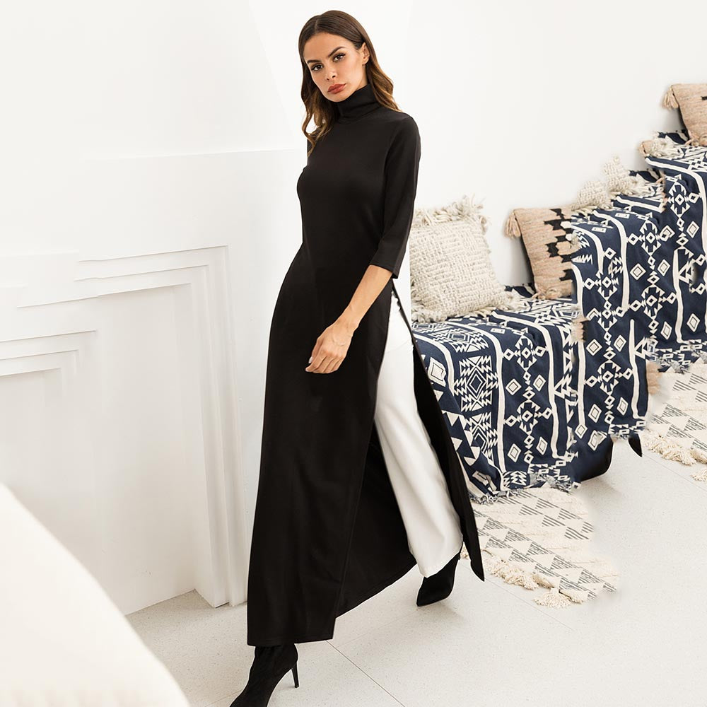 Women Fashion Plus Size Maxi Dress Asymmetrical Western Style Turtleneck  Pullover Stretchy Black Knitting Oversize Long Dress